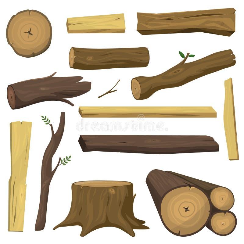 Деревянное изолированное дерево материалов вносит вектор в журнал иллюстрация вектора