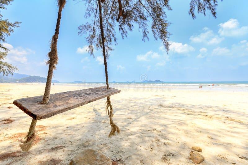Деревянное качание вися дерево на тропическом пляже - Селективный f стоковые изображения