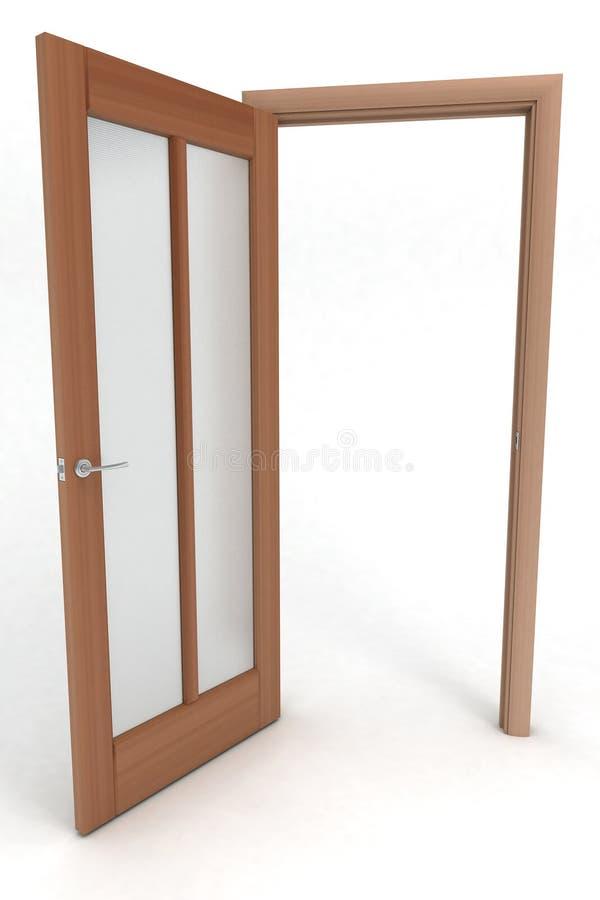 деревянное раскрытое дверью стоковая фотография