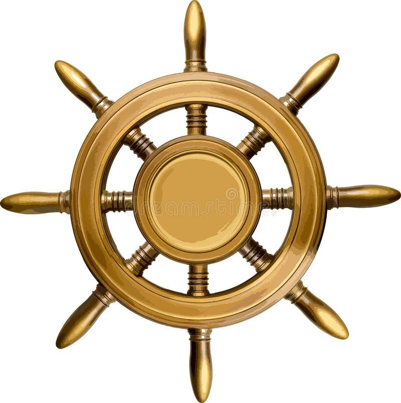Деревянное рулевое колесо иллюстрация штока