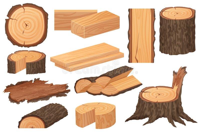 Деревянное сырье индустрии Реалистические высокие детальные образцы продукции вектора Ствол дерева, журналы, хоботы, работа по де бесплатная иллюстрация