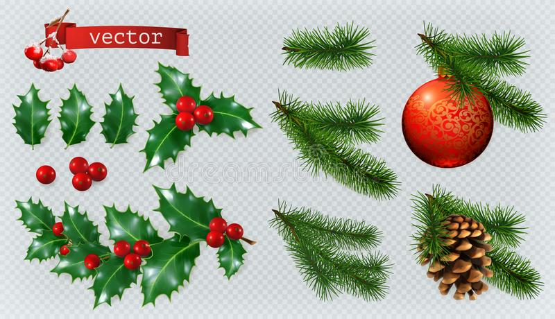 деревянное украшений рождества экологическое комплект значка вектора 3d иллюстрация вектора