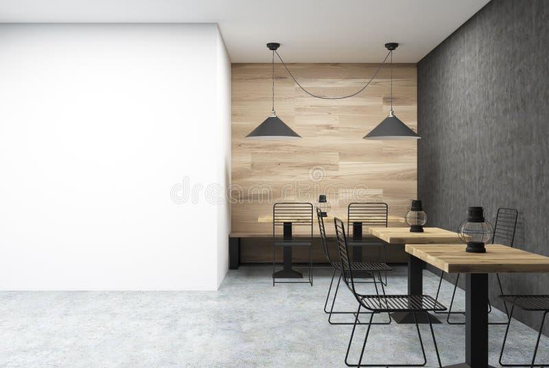 Деревянное, черно-белое кафе, стена иллюстрация штока