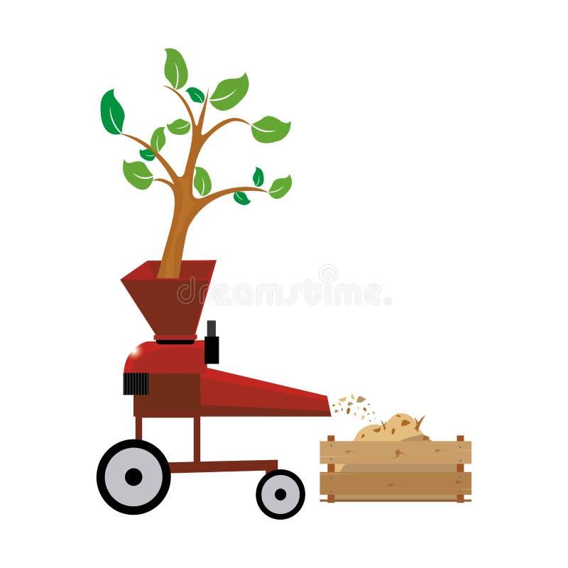 Деревянное chipper дерево файла вектора через деревянный откалывая chipper машины, бесплатная иллюстрация
