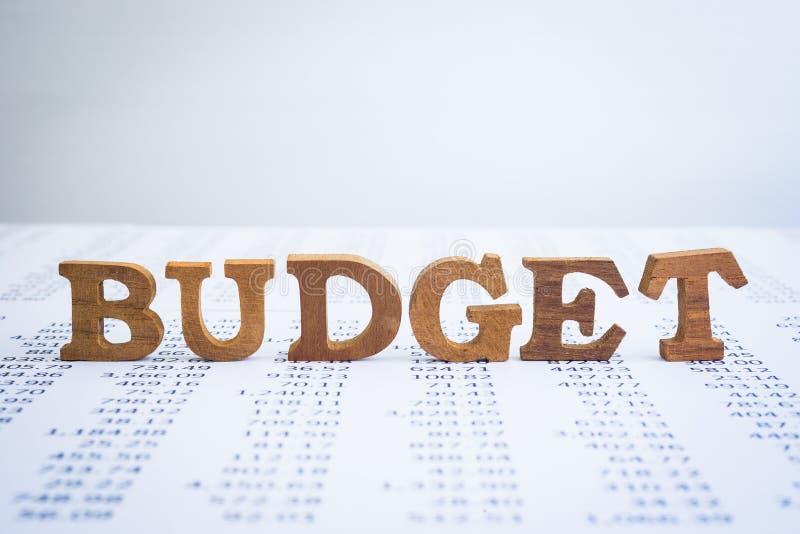 Деревянные алфавиты бюджета на ежегодных отчетах о бухгалтерии стоковая фотография