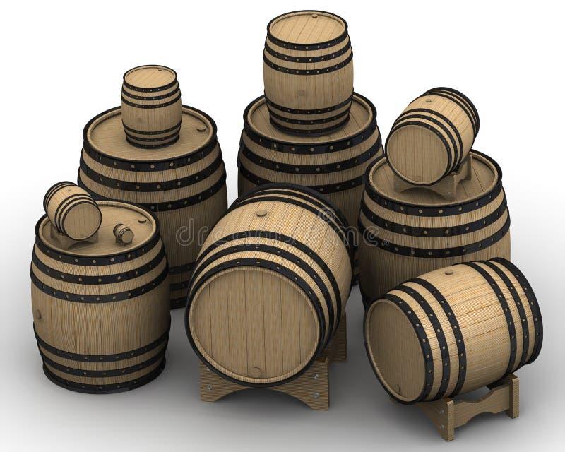 Деревянные бочонки различных размеров иллюстрация вектора