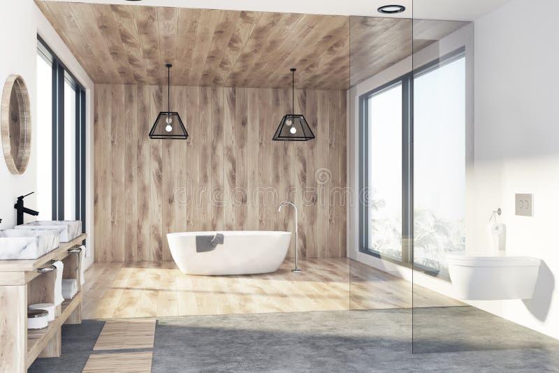 Деревянные ванная комната, ушат и раковина иллюстрация вектора