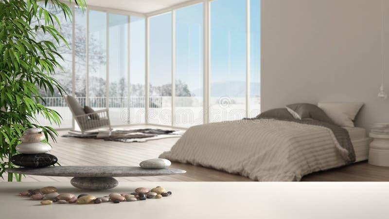 Деревянные винтажные таблица или полка с каменным балансом, над запачканной минималистской спальней с большими панорамными окном, бесплатная иллюстрация