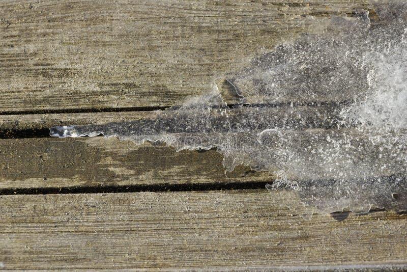 Деревянные доски льда и снега текстурируют предпосылку стоковое изображение rf