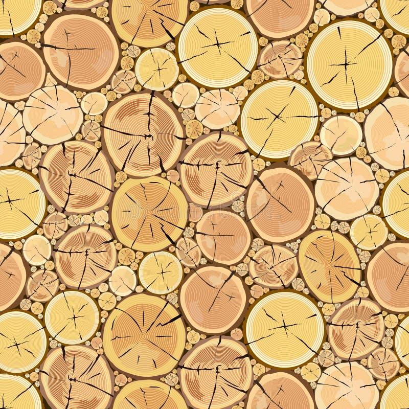 Деревянные журналы Кора Брауна валить сухой древесины иллюстрация штока