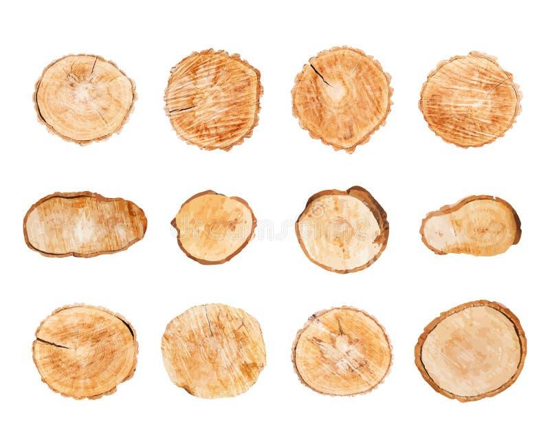 Деревянные журналы установили изолированный на белом векторе предпосылки бесплатная иллюстрация