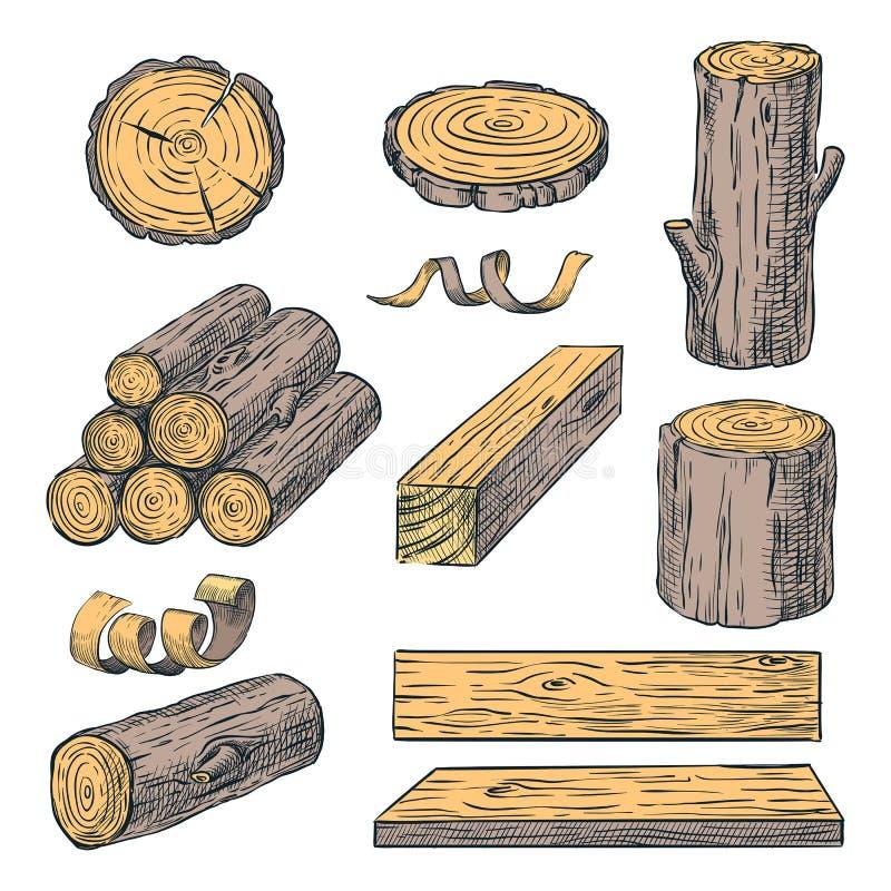 Деревянные журналы, хобот и планки, иллюстрация эскиза цвета вектора Материалы руки вычерченные деревянные Набор швырка иллюстрация штока