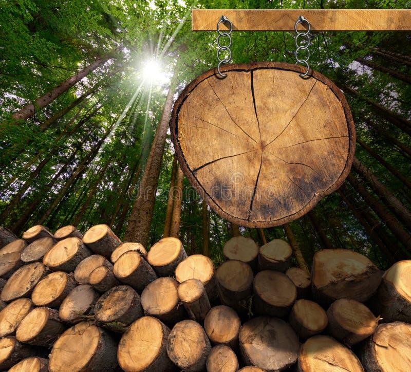 Деревянные журналы с лесом и знаком иллюстрация вектора