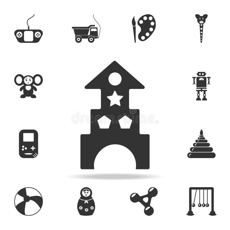 деревянные замок игрушки блоков и значок дома Детальный комплект младенца забавляется значки Наградной качественный графический д бесплатная иллюстрация