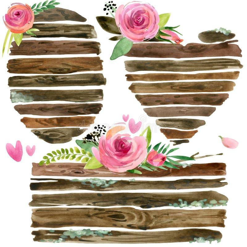 Деревянные знамена с розовым цветком Розовая акварель цветка Wedding декоративный элемент Деревянный комплект панели иллюстрация вектора