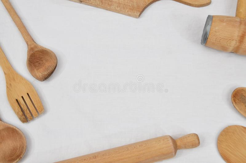 Деревянные инструменты кухни стоковое фото rf
