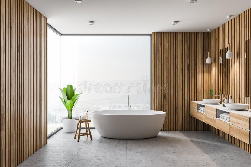 Деревянные интерьер, ушат и раковина ванной комнаты иллюстрация штока