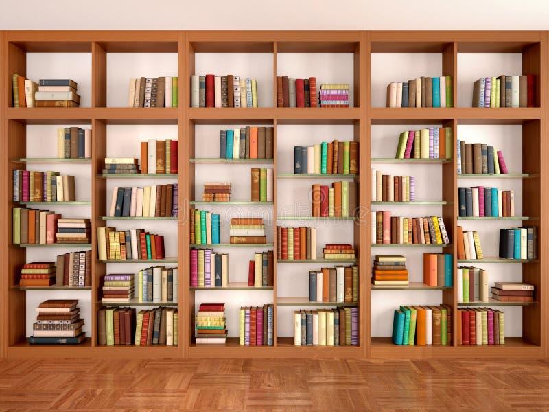Деревянные и стеклянные полки с различными книгами иллюстрация вектора