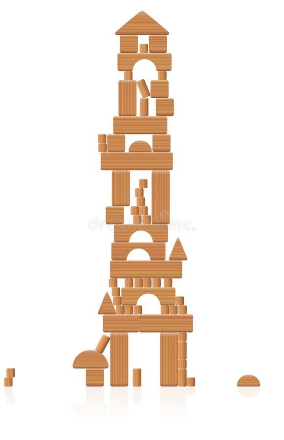 Деревянные кирпичи здания башни иллюстрация штока