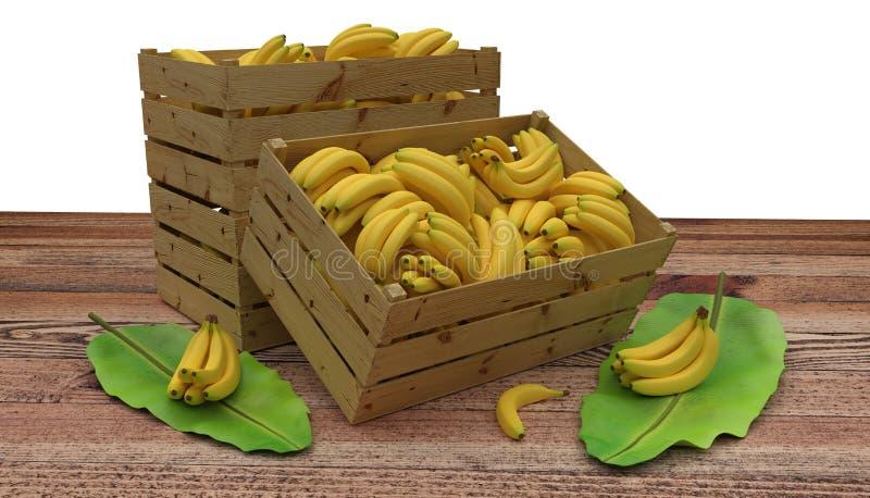 Деревянные клети или коробки вполне места бананов на деревянном столе И лист банана рядом с Изолировано на белизне бесплатная иллюстрация