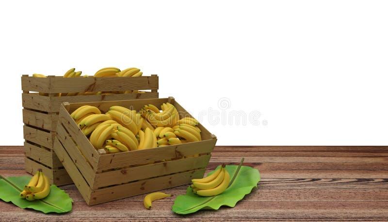 Деревянные клети или коробки вполне места бананов на деревянном столе И лист банана рядом с Изолировано на белизне иллюстрация вектора