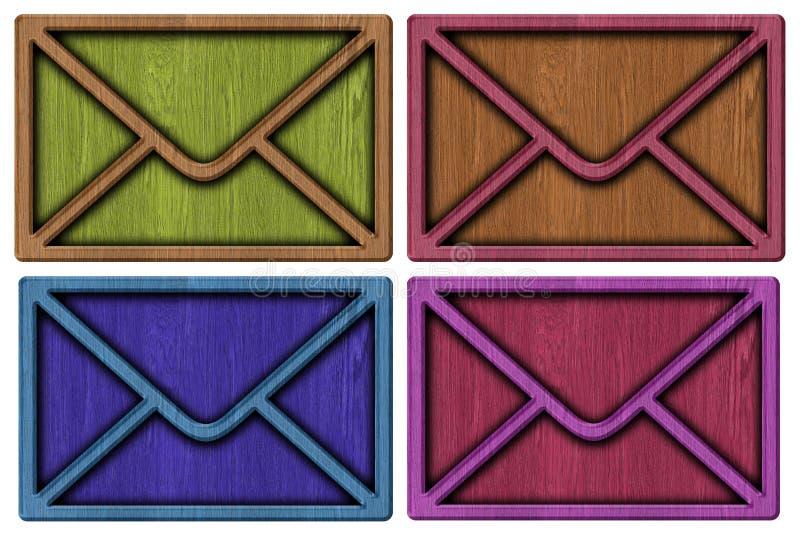 Деревянные конверты, письмо иллюстрация вектора