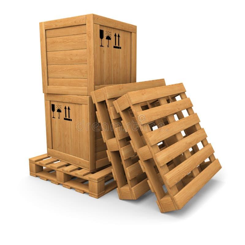 Деревянные коробки с печатью на паллете, куче паллетов иллюстрация вектора