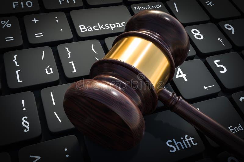 Деревянные молоток и клавиатура - правосудие и концепция закона бесплатная иллюстрация
