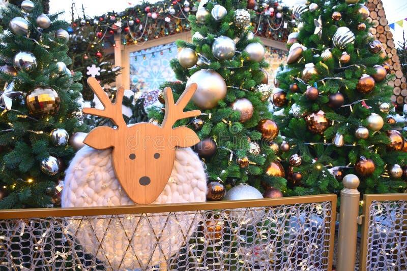Деревянные олени среди рождественских елок стоковые изображения