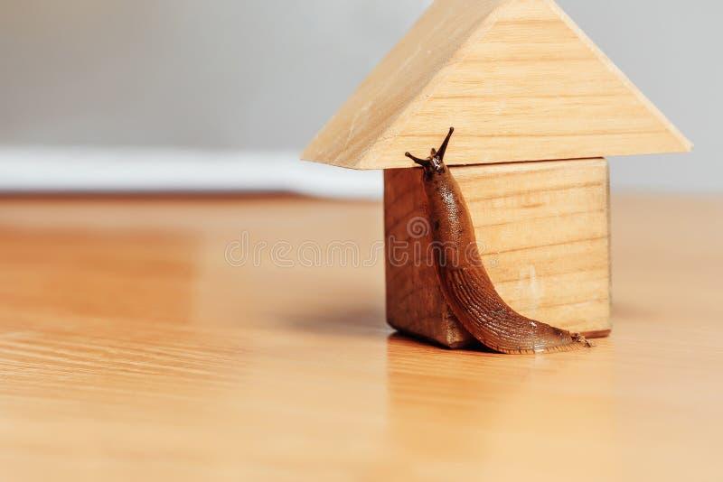 Деревянные дом и кусок металла стоковое изображение rf
