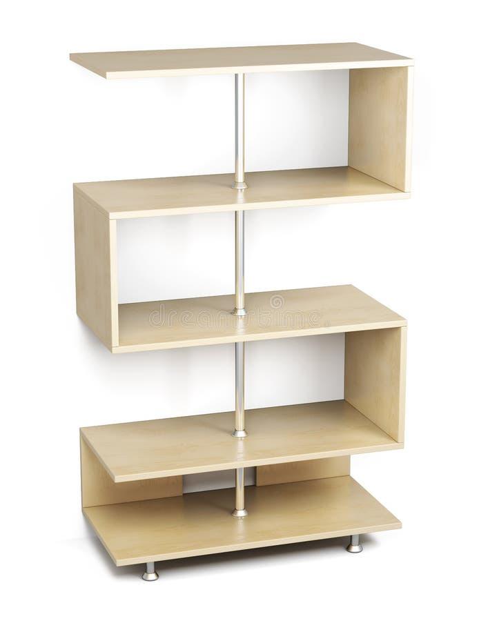Деревянные полки на шкафе хрома 3d иллюстрация вектора