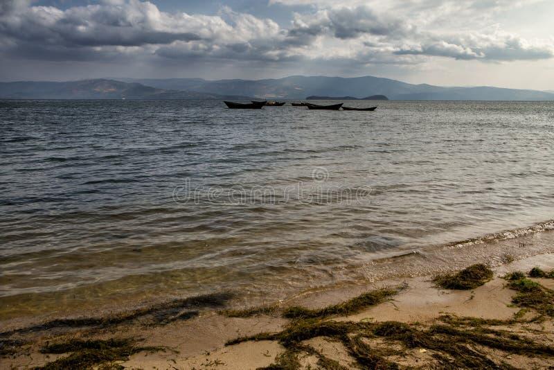 Деревянные рыбацкие лодки в смещении стоковые фотографии rf