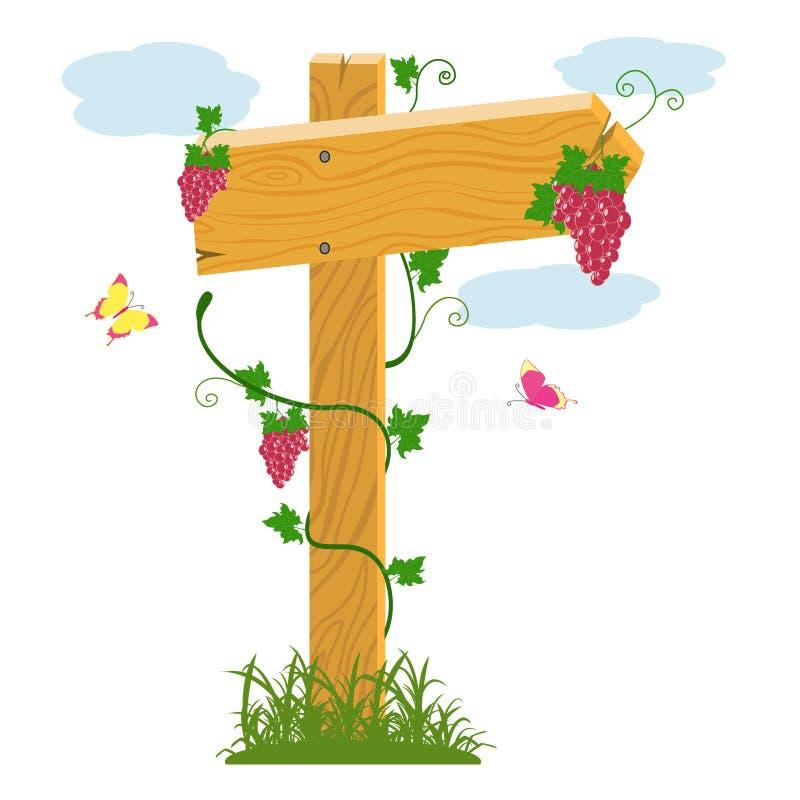 Download Деревянные стрелка и виноградины Иллюстрация вектора - иллюстрации насчитывающей ягода, лево: 33725616