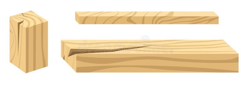 Деревянные строительные материалы конструкция и изолированные плотн бесплатная иллюстрация