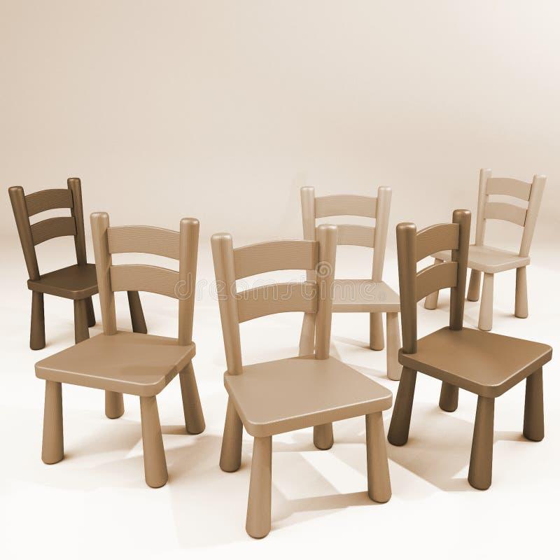 Деревянные стулья опорожняют комнату иллюстрация штока