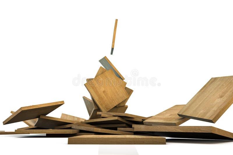 Деревянные таблетки падая на пол иллюстрация вектора