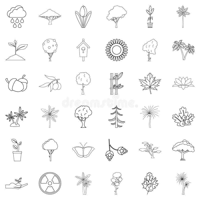 Деревянные установленные значки, стиль плана иллюстрация вектора