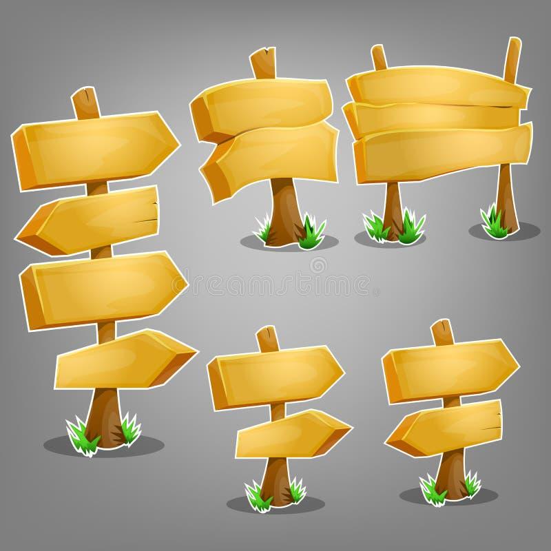 Деревянные установленные знаки иллюстрация вектора
