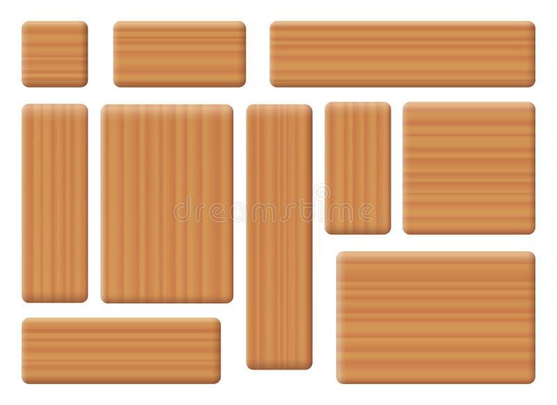 Деревянные установленные кирпичи здания иллюстрация вектора