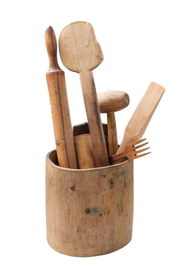 Деревянные утвари кухни стоковая фотография rf
