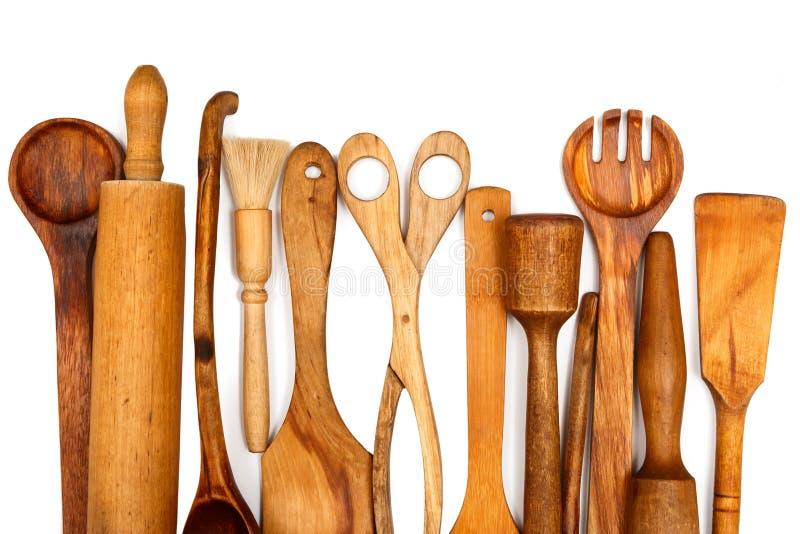 Деревянные утвари кухни стоковое фото rf