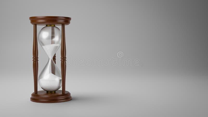 Деревянные часы на серой предпосылке иллюстрация штока
