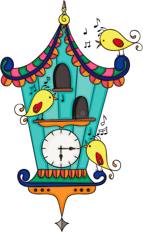 Деревянные часы с кукушкой с желтыми птицами иллюстрация штока