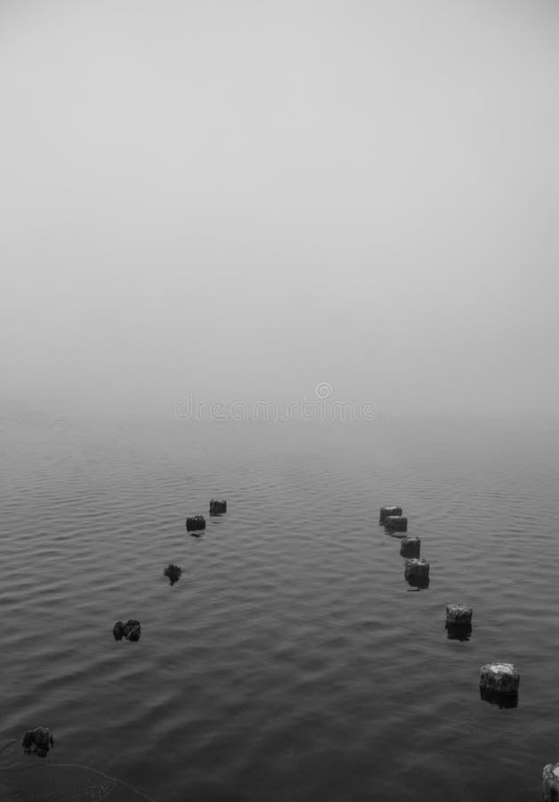 Деревянные штендеры вытекая от озера стоковое фото rf