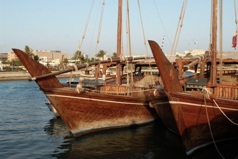 Деревянные шлюпки в Катаре стоковое изображение rf