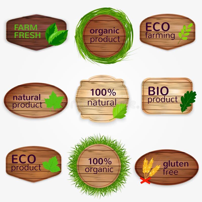 Деревянные ярлыки Eco, bages, собрание стикеров с листьями зеленого цвета и трава - био и натуральный продучт, естественный, клей иллюстрация вектора