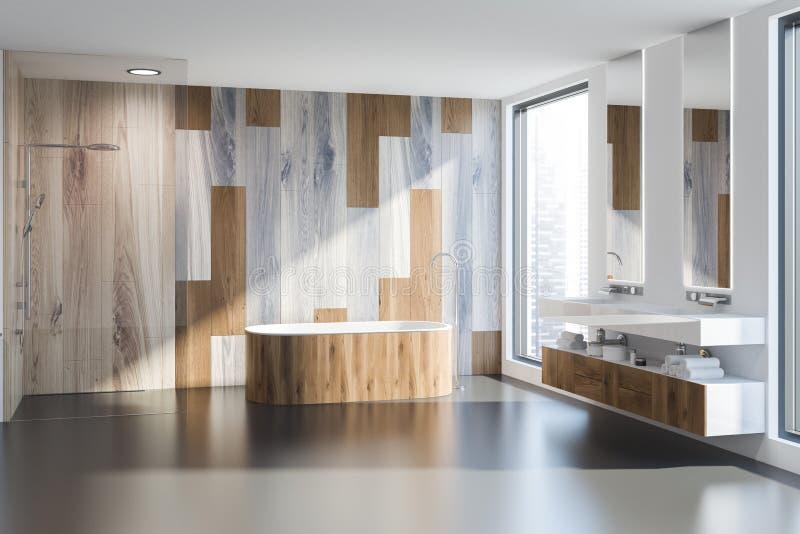 Деревянные bathroom, ушат и раковина стены бесплатная иллюстрация