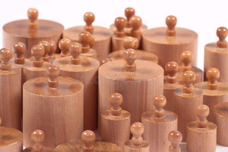 Деревянные Knobbed цилиндры Montessori стоковое изображение rf