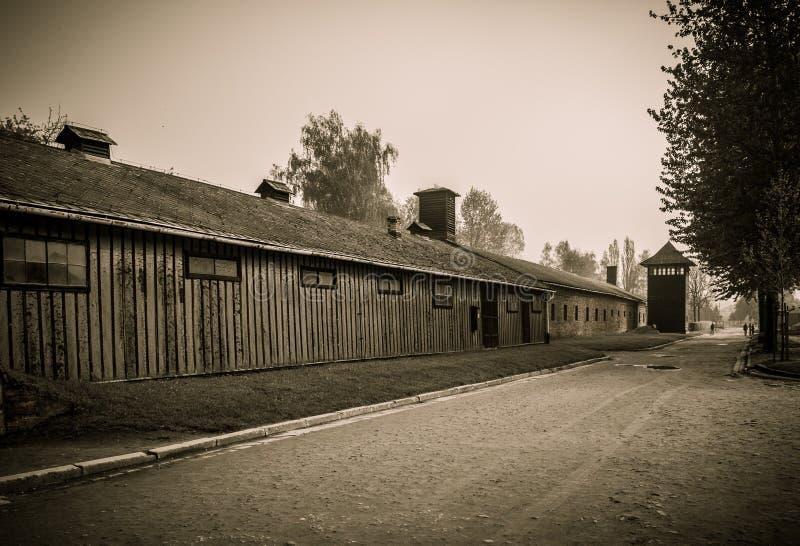 Деревянный лагерь Освенцим i казарм, Польша стоковые изображения rf
