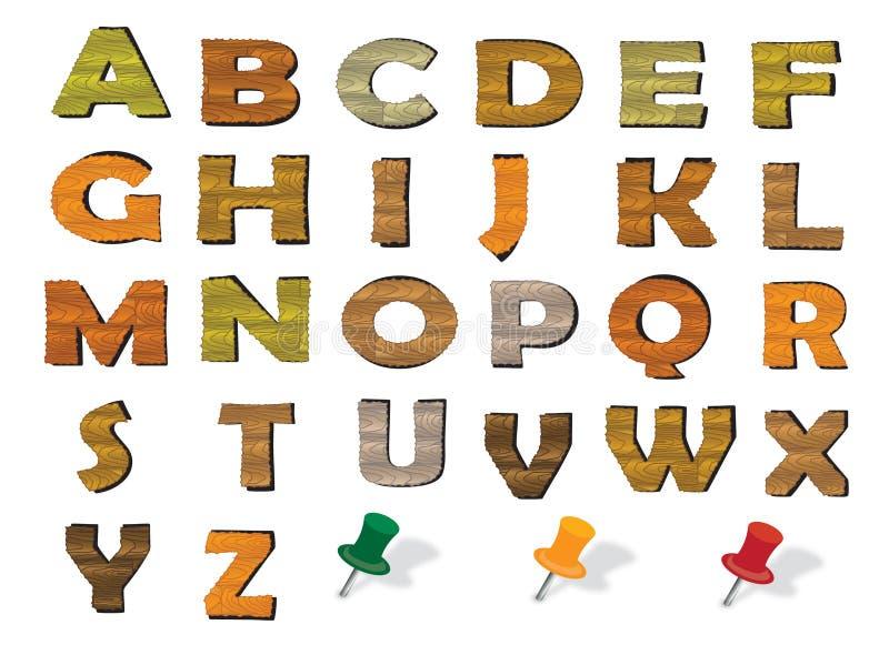Деревянный английский алфавит иллюстрация штока